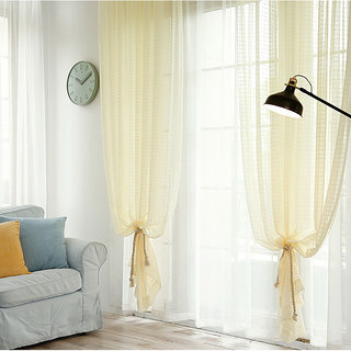 In Grid Windowpane Check Light Yellow Gold Shimmery Voile Curtain 3