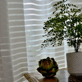 Sheer Curtain Distinct Horizontal Striped White Voile Curtain 3