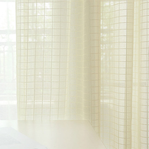 In Grid Windowpane Check Light Yellow Gold Shimmery Voile Curtain 5