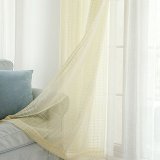 In Grid Windowpane Check Light Yellow Gold Shimmery Voile Curtain 4
