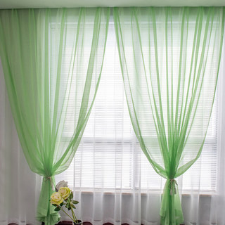 Luxe Green Sheer Voile Curtain 1