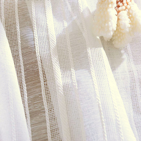 Calming Classic Striped White Linen Net Curtain 1