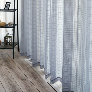 In Grid Windowpane Check Grey Sheer Voile Curtain 2