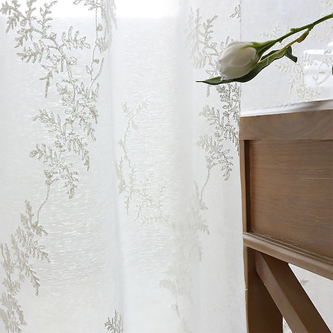 Sheer Curtain Embroidered Pine Tree Leaves White Floral Voile Curtain 3