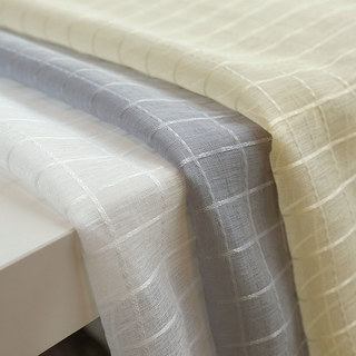 In Grid Windowpane Check Grey Sheer Voile Curtain 9