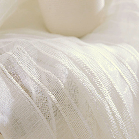 Calming Classic Striped White Linen Net Curtain 5