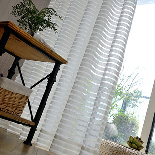 Sheer Curtain Distinct Horizontal Striped White Voile Curtain 5
