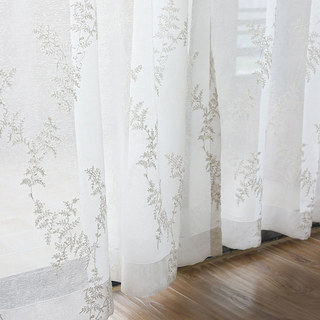 Sheer Curtain Embroidered Pine Tree Leaves White Floral Voile Curtain 1