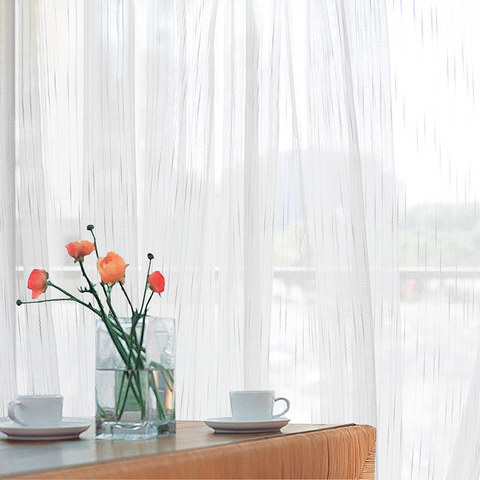 Sheer Curtain The New Neutral White Voile Curtains with Exquisite Striped Texture 1