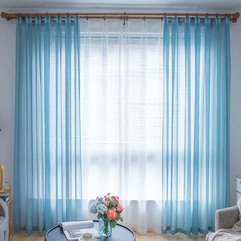 Sheer Curtain Luxe Teal Voile Curtain 2