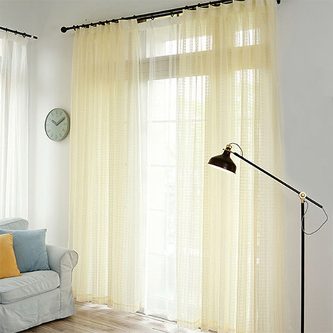 In Grid Windowpane Check Light Yellow Gold Shimmery Voile Curtain 2