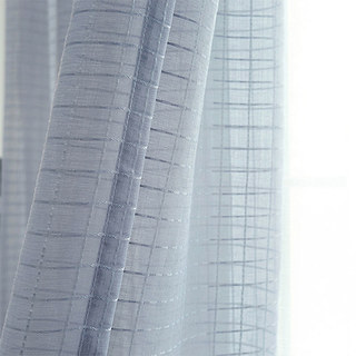 In Grid Windowpane Check Grey Sheer Voile Curtain 7