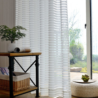 Sheer Curtain Distinct Horizontal Striped White Voile Curtain 1