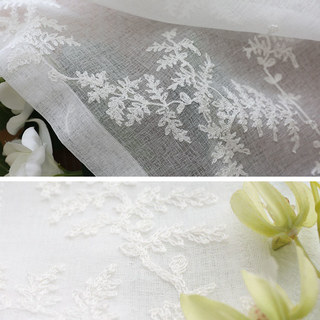 Sheer Curtain Embroidered Pine Tree Leaves White Floral Voile Curtain 5