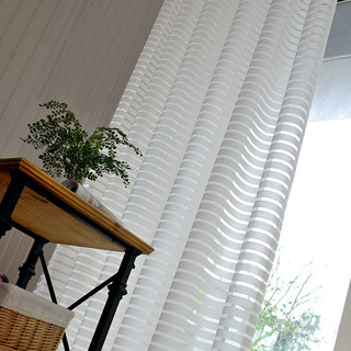 Sheer Curtain Distinct Horizontal Striped White Voile Curtain 2