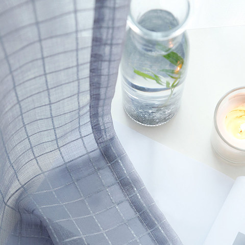 In Grid Windowpane Check Grey Sheer Voile Curtain 1