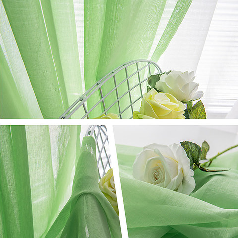 Luxe Green Sheer Voile Curtain 3
