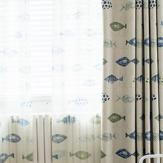Sheer Curtain Ocean View Green Blue Fish Voile Curtain 2
