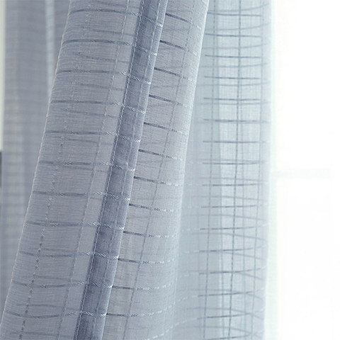 Sheer Curtain In Grid Windowpane Check Grey Voile Curtain 7