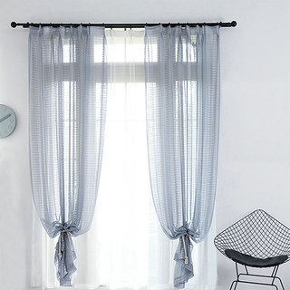 Sheer Curtain In Grid Windowpane Check Grey Voile Curtain 5