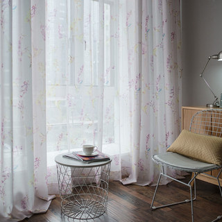 Sheer Curtain Hummingbird Pink Voile Curtain 2