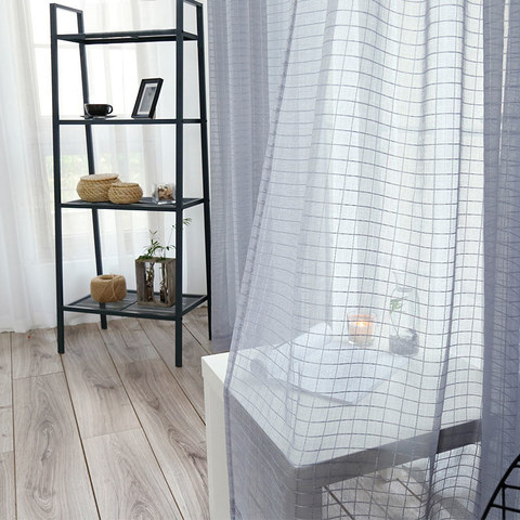 Sheer Curtain In Grid Windowpane Check Grey Voile Curtain 6
