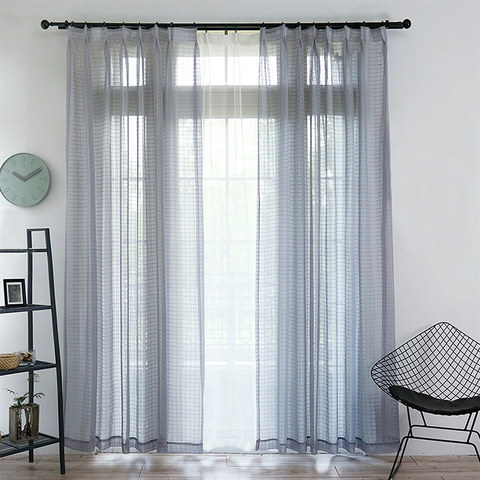 Sheer Curtain In Grid Windowpane Check Grey Voile Curtain 1