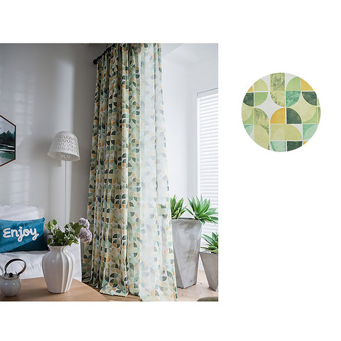 Vigour Multi Colour Green Yellow Geometric Linen Sheer Curtains 3