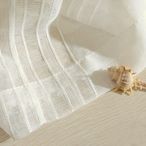 Sheer Curtain Calming Classic Striped White Linen Net Curtain 5