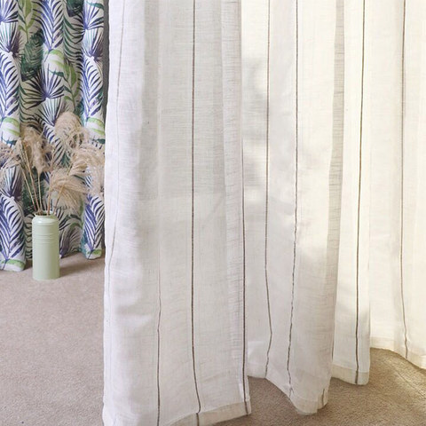 Sheer Curtain French Vintage Textured Striped Linen Voile Curtain 1