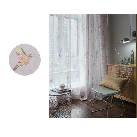 Sheer Curtain Hummingbird Pink Voile Curtain 3