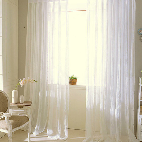 Sheer Curtain Calming Classic Striped White Linen Net Curtain 4