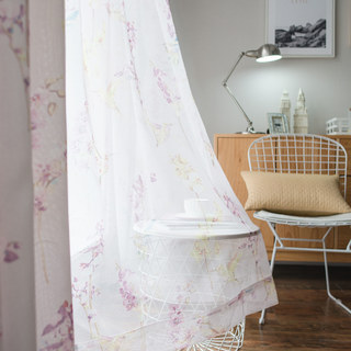 Sheer Curtain Hummingbird Pink Voile Curtain 1
