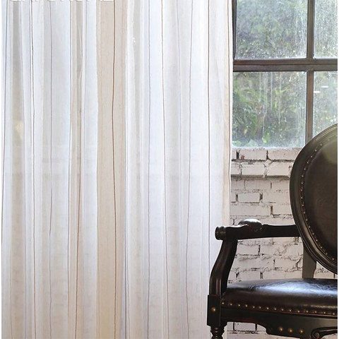 Sheer Curtain French Vintage Textured Striped Linen Voile Curtain 2
