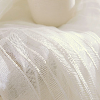 Sheer Curtain Calming Classic Striped White Linen Net Curtain 6