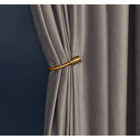 Fine Light Grey Velvet Curtain 1