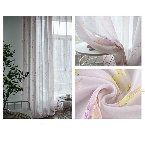 Sheer Curtain Hummingbird Pink Voile Curtain 5