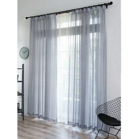 Sheer Curtain In Grid Windowpane Check Grey Voile Curtain 4