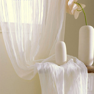Sheer Curtain Calming Classic Striped White Linen Net Curtain 3