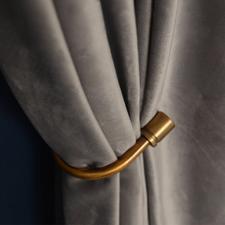 Fine Light Grey Velvet Curtain 4