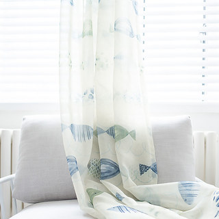 Sheer Curtain Ocean View Green Blue Fish Voile Curtain 1
