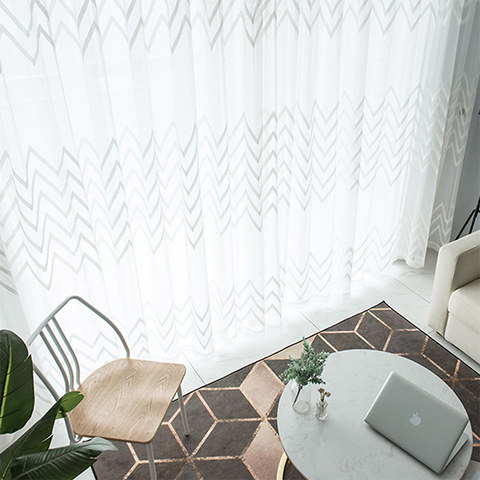 Wave Some Magic White Geometric Wave Voile Curtain 2