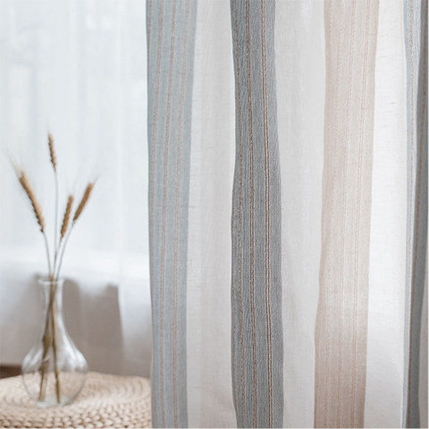 Sheer Curtain Sunnyside Luxury Linen Light Blue Grey Striped Voile Curtains 3
