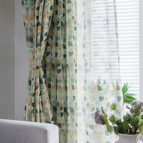 Vigour Multi Colour Green Geometric Linen Sheer Curtains 3