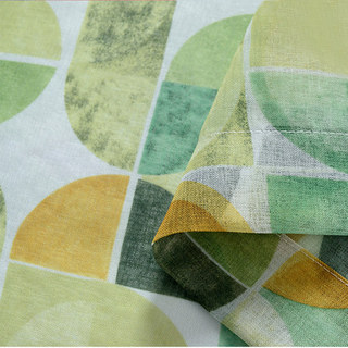 Vigour Multi Colour Green Geometric Linen Sheer Curtains 1