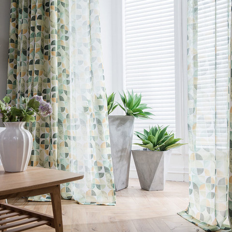 Vigour Multi Colour Green Geometric Linen Sheer Curtains 2