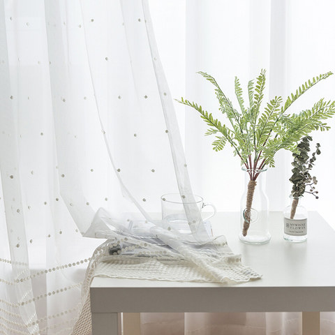 White Embroidered Dotted Dot Voile Curtain 1