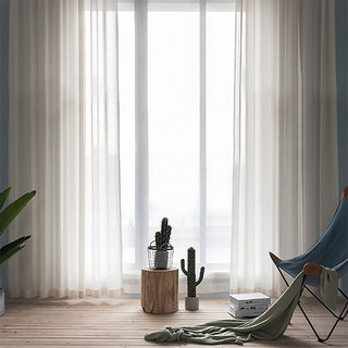 Sheer Curtain Natures Hug Linen Style Strip Voile Curtain 2