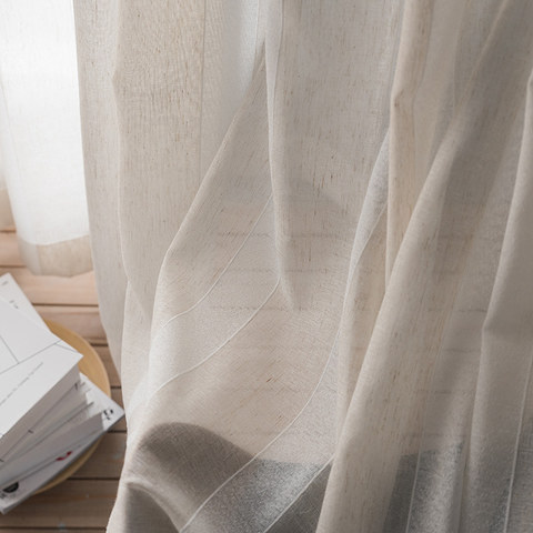 Sheer Curtain Natures Hug Linen Style Strip Voile Curtain 1