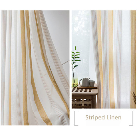 Sheer Curtain Sunnyside Luxury Linen Yellow Striped Voile Curtains 5
